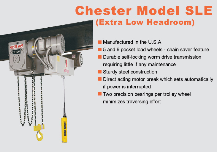 Electric Hoists - Chain - Chester Model SLE (extra low headroom)